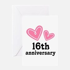 16th Anniversary Hearts Greeting Card