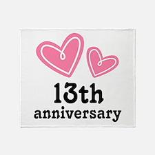 13th Anniversary Hearts Throw Blanket