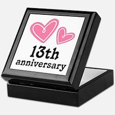 13th Anniversary Hearts Keepsake Box