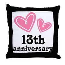 13th Anniversary Hearts Throw Pillow
