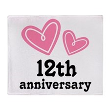 12th Anniversary Hearts Throw Blanket