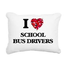 I love School Bus Driver Rectangular Canvas Pillow