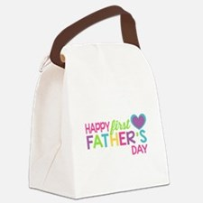 Happy First Father's Day Girls Canvas Lunch Bag