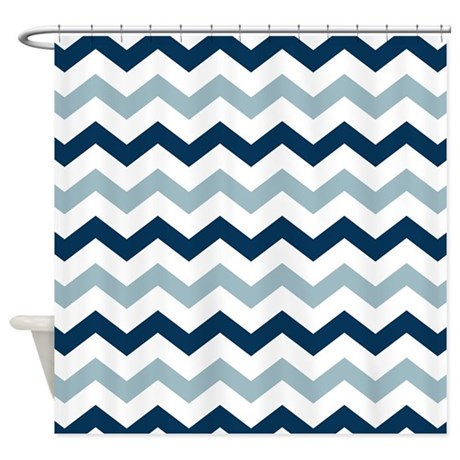 Navy Blue White Chevron Pattern Shower Curtain By Printcreekstudio