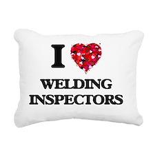 I love Welding Inspector Rectangular Canvas Pillow