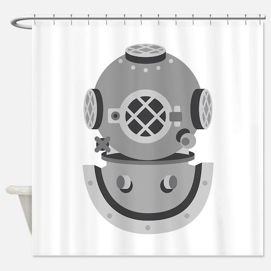 Diver Helmet Shower Curtain