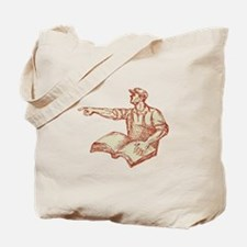 Activist Union Worker Pointing Book Drawing Tote B
