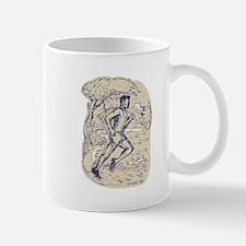 Marathon Runner Running Drawing Mugs