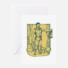 Strongman Lifting Weight Drawing Greeting Cards