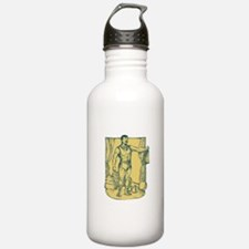 Strongman Lifting Weight Drawing Water Bottle