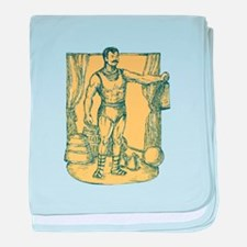Strongman Lifting Weight Drawing baby blanket