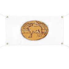 Cow Ranch Farm House Oval Woodcut Banner