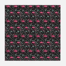 Pink on Black Flamingos Tile Coaster