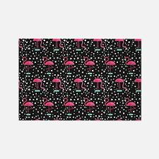 Pink on Black Flamingos Rectangle Magnet
