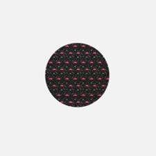 Pink on Black Flamingos Mini Button