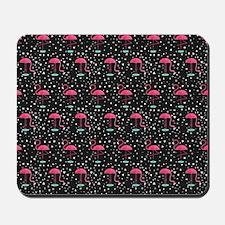 Pink on Black Flamingos Mousepad