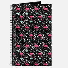 Pink on Black Flamingos Journal