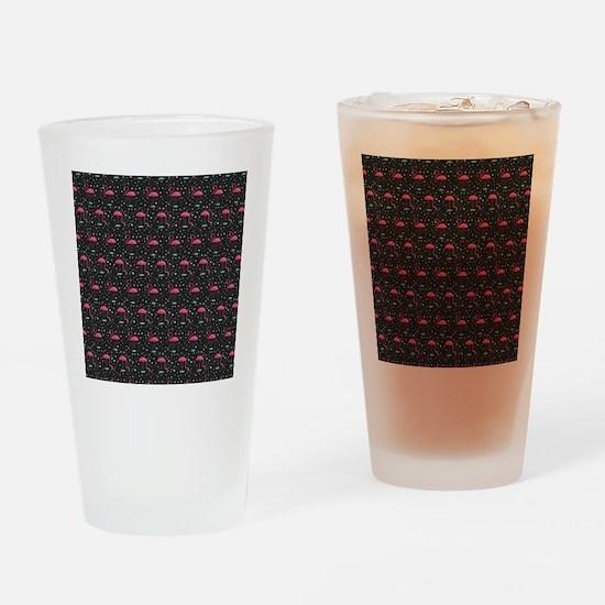 Pink on Black Flamingos Drinking Glass
