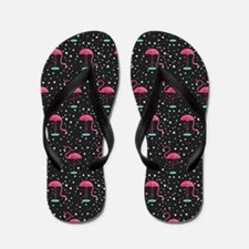 Pink on Black Flamingos Flip Flops