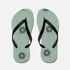 Retro Style Pale Green Floral Pattern Flip Flops