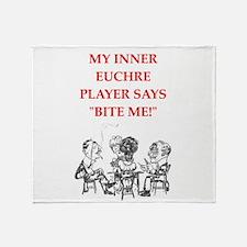 euchre joke Throw Blanket