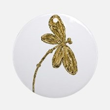 Golden Dragonfly Ornament (Round)