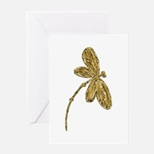 Golden Dragonfly Greeting Cards