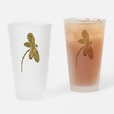 Golden Dragonfly Drinking Glass