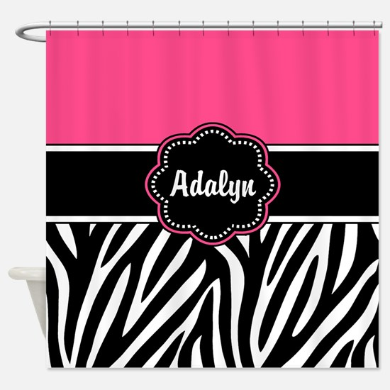 Pink Zebra Print Personalized Shower Curtain