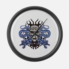 Blue Skull.png Large Wall Clock
