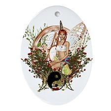 Pentacle Triple Moon Symbol 1 Ornament (Oval)