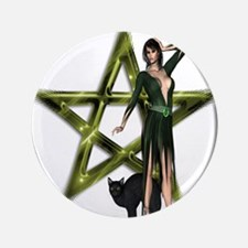 The Wicca Pentacle Button