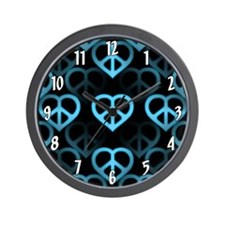 Blue Peace Hearts Wall Clock