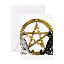 Wolf Pentacle Pentagram Greeting Cards