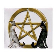 Wolf Pentacle Pentagram Throw Blanket