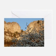 SENECA ROCKS WITH DOGWOOD Greeting Card