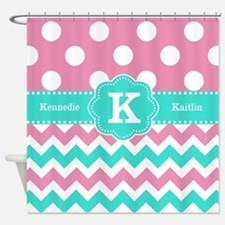 Pink Teal Dots Chevron Personalized Shower Curtain