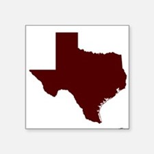 "Maroon Texas Outline Square Sticker 3"" x 3"""