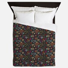 Cute Doodle Hearts Pattern Background Queen Duvet