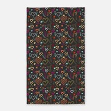 Cute Doodle Hearts Pattern Background Area Rug