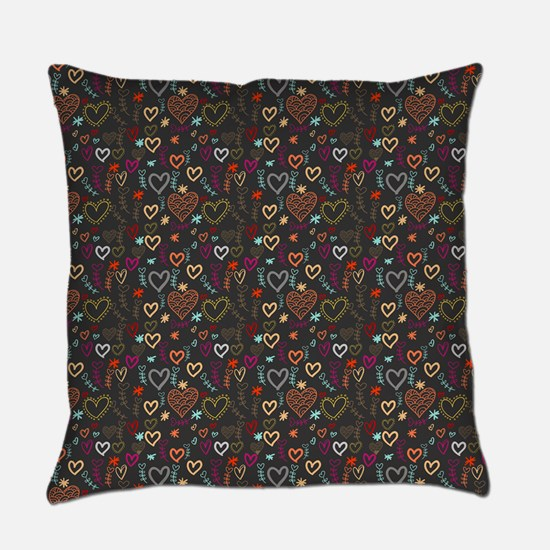 Cute Doodle Hearts Pattern Backgro Everyday Pillow