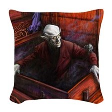 Dracula Nosferatu Vampire Woven Throw Pillow