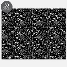 Cute Doodle Hearts Pattern Background Puzzle