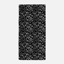 Cute Doodle Hearts Pattern Background Beach Towel