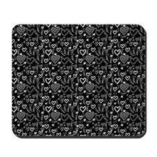 Cute Doodle Hearts Pattern Background Mousepad