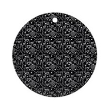 Cute Doodle Hearts Pattern Backgr Ornament (Round)