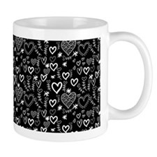 Cute Doodle Hearts Pattern Background Small Small Mug