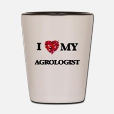 I love my Agrologist hearts design Shot Glass