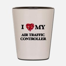 I love my Air Traffic Controller hearts Shot Glass