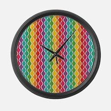Cheerful Rippling Rainbow Large Wall Clock